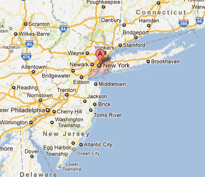 Map Of New York New Jersey And Connecticut.Cost 2 Drive New York New York