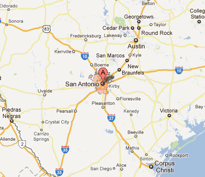 80 Mi - Distance from Austin to San Antonio