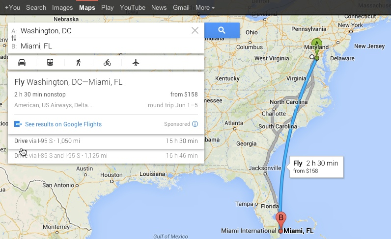 Cost 2 Drive | Google Maps Follows C2G's Lead, Adds Flights ... Google Map Search Driving Directions on maps satellite view google, maps get directions, maps maps google, maps history google,
