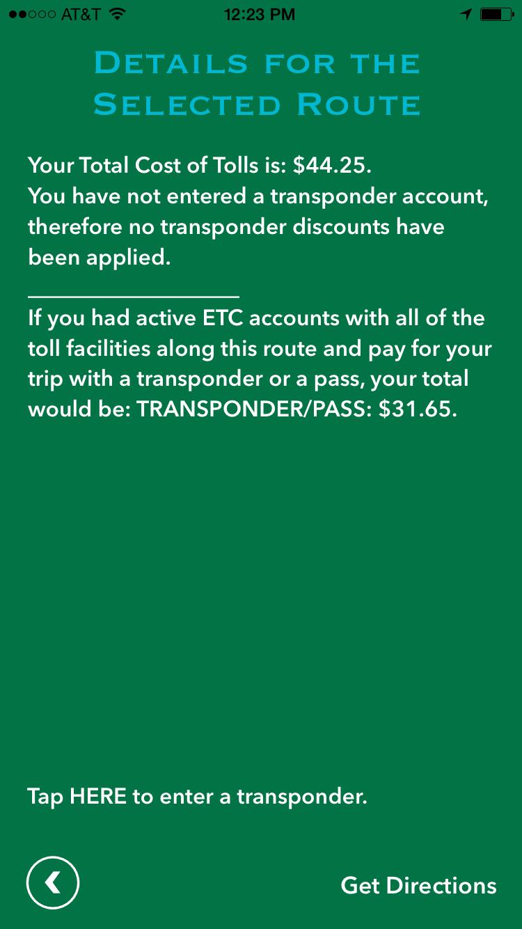 Tollsmart Trip Details Screen